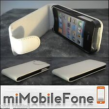 IPHONE 4 / 4S CASE / FLIP COVER IN WHITE FAUX LEATHER & BLACK SURROUND