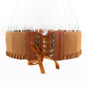 Lady Dress Corset Waistband Elastic Stretch Waist Belts Women's Wide Girdle Belt