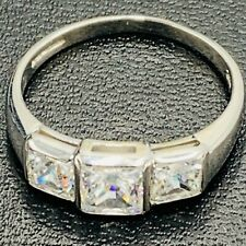 Solid 375 9ct White Gold 3 Stone CZ Dress Ring UK O US 7 L60