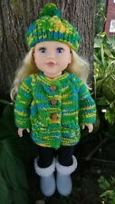American Girl Style Doll Hand Knit Sweater and Hat Set Blue/Green/Yellow Mix