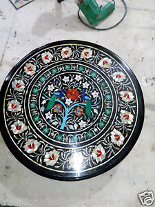 """18"""" Handmade Black Marble Table Top Inlaid Peacock Pietra Dura Side Table Top"""