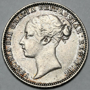 1876 QUEEN VICTORIA GREAT BRITAIN SILVER SIXPENCE SIX PENCE 6D COIN