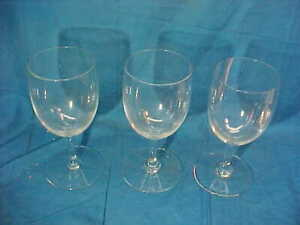 """3 Original BACCARAT French CRYSTAL 6"""" WINE GLASSES"""