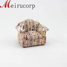 Retro 1/12 Scale Dollhouse Miniature Furniture High Quanlity Floral Single Sofa