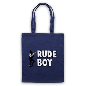 RUDE BOY JAMAICAN STREET CULTURE SLOGAN 2 TONE SKA FAN SHOULDER TOTE SHOP BAG