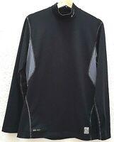 NIKE PRO COMBAT Mens Shirt Medium Athletic Dri Fit Long Sleeve Black Pullover