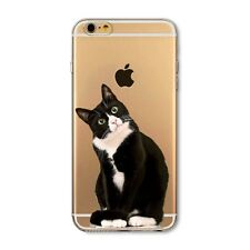 iPhone 6 6S Clear Lucky Black Cat Silicon Protective Phone Case Cover Cute Gift