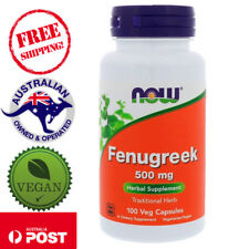 2x Now Foods Fenugreek Herbal Dietary Supplement Tea 500 MG 100 Capsules Caps