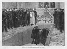 Funeral of Lord Beaconsfield (Benjamin Disraeli) at Hughenden - Old Print 1881