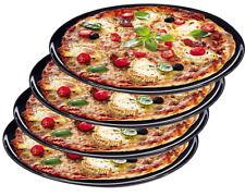 4er Set Pizzateller Neutral Motiv 32cm Porzellan Pizza Pasta Teller schwarz