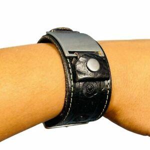 "Vintage FOSSIL Watch Strap Bracelet Brown Genuine Leather 9"" Length Unisex Adult"