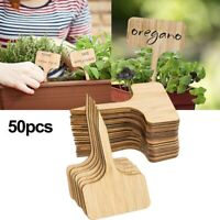 50Pcs Bamboo Plant Labels Eco-Friendly T-Type Wooden Tags Garden Markers