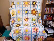 """Vintage Handmade Patchwork 8 Petal Spoke Flower 72"""" x 91"""" Quilt"""
