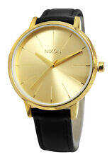 Nixon A108501 Kensington 37mm Gold Black Analog Dial Leather Band Watch New