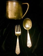 Antique Rogers Baby sterling silver Little Boy Blue baby fork & spoon pair + Cup