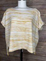 Lou & Grey Women's Top Yellow White Striped Cap Sleeve Blouse Size Large