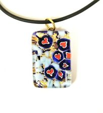 GENUINE MURANO ART GLASS NAVY BLUE,GOLD RED HEART PENDANT+BLACK RUBBER NECKLACE