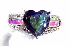 Sterling 925 Silver SF Size 6 Ring Pink Lab Fire Opal & 8mm Rainbow Topaz Heart