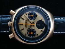 VTGE RARE CITIZEN BULLHEAD GOLDEN PANDA 8110 CHRONOGRAPH AUTOMATIC MEN WATCH. 70