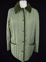 Women's Quilted Jacket Corduroy Collar Walking Outdoor Vtg 1990s Green UK 14 M