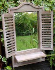 Nouveau rustique en bois naturel en bois Obturateur Miroir avec tablette 70 cm salle de bain jardin
