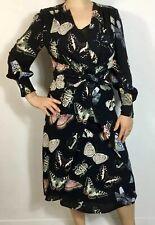 Reiss Lita Black Multicoloured Butterfly Print Twist Front Midi Dress UK 10
