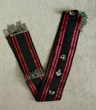 More details for antique orange order masonic black red silk side sash metal jewels circa 1910
