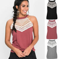 Womens Sleeveless Lace Singlet Vest T-shirt Summer Casual Beach Tank Tops Blouse