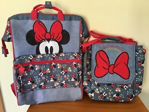 New Disney Store Minnie Mouse Backpack Lunch Tote Box School Bag
