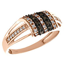 Cocktail Right Hand Ring 1/3 Ct. 10K Rose Gold Brown Diamond Domed Rectangle