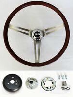 "1966 Chevelle 64-66 Nova Impala Low Gloss Wood Steering Wheel 15"" SS Center Cap"