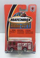 Matchbox Hero-City #44 Dennis Sabre Fire Truck Red Mattel 2002 NOS
