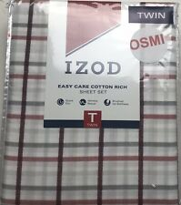 IZOD EASY CARE COTTON RICH SHEET SET TWIN CARTER PLAID GREY/RED