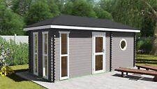 Saunahaus, Außen-Sauna, Gartensauna Holz 5.8x2.4M 45mm Oldenburg EB45006F28ISOL