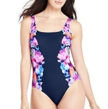 2b959fb3ce7f9 NEW LANDS' END BLUE IRIS PERFECT SQUARE NECK ONE PIECE SWIMSUIT TUMMY  CONTROL 4