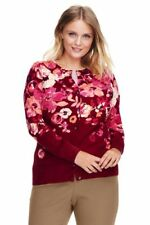NEW LANDS END Supima Cotton Cardigan Sweater Red Floral 1X
