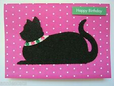 Black Fuzzy Cat Coloured Jewels On Collar Pink Background Handmade Birthday Card