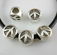 12pcs Tibetan Silver Hole4.5mm Peace Sign Spacer Beads fit Europe charm Bracelet