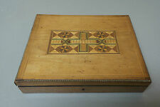ANTIQUE ENGLISH WOODEN GAME BOX, INLAID LID, MOTHER-OF-PEARL COUNTERS, c.1900