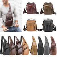 Bull Captain Men Leather Sling Shoulder Bag Fanny Waist Chest Pack Crossbody Bag