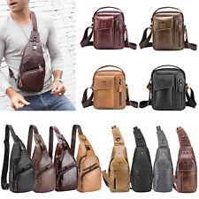 Bull Captain Men Leather Sling Shoulder Bag Fanny Waist Chest Pack Crossbody Bag