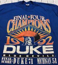 90s VTG nos DUKE BLUE DEVILS 1992 NATIONAL CHAMPIONS T Shirt Grant Hill XXL