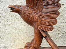 """Antiker """" Adler auf Sockel """" um 1910 aus Holz geschnitzt & gefasst 61cm"""