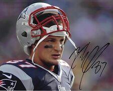 Rob gronkowski firmato foto 10 x 8 New England Patriots AFTAL COA (B)