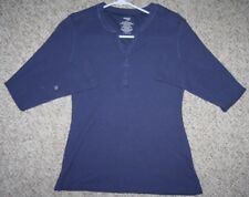Danskin Now Blue Thermal Shirt Long Sleeve Solid Women's Woman Small Cotton Poly
