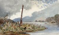 FISHERMAN ON THE THAMES Small Victorian Watercolour Painting 19TH CENTURY