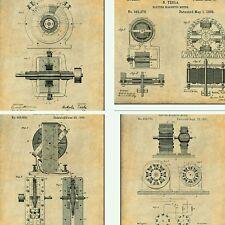 "Set of 4 Nikola Tesla Steampunk Patent Prints Unframed Posters 8.5"" X 11"""
