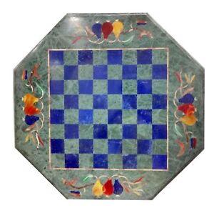 "18""  Marble Chess Table Pietra Dura Semi Precious Stones inlay"