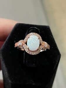 Sterling Silver Rose Gold Plated White Lab Opal Cubic Zirconia Ring Size 7