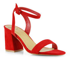 New Womens Strappy Ankle Strap Low Mid Heel Sandals Ladies Party Shoes Size 3-8